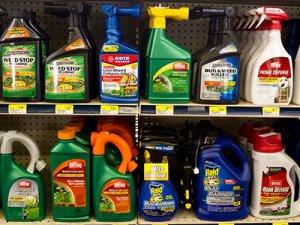 полка с химическими средствами против сорной растительности